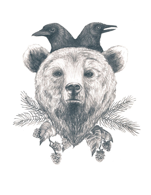 bear crow illustration