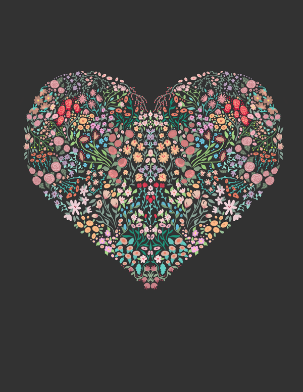 floral heart illustration by fin and feather art