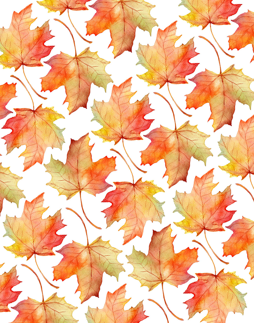 fall watercolor by fin and feather art