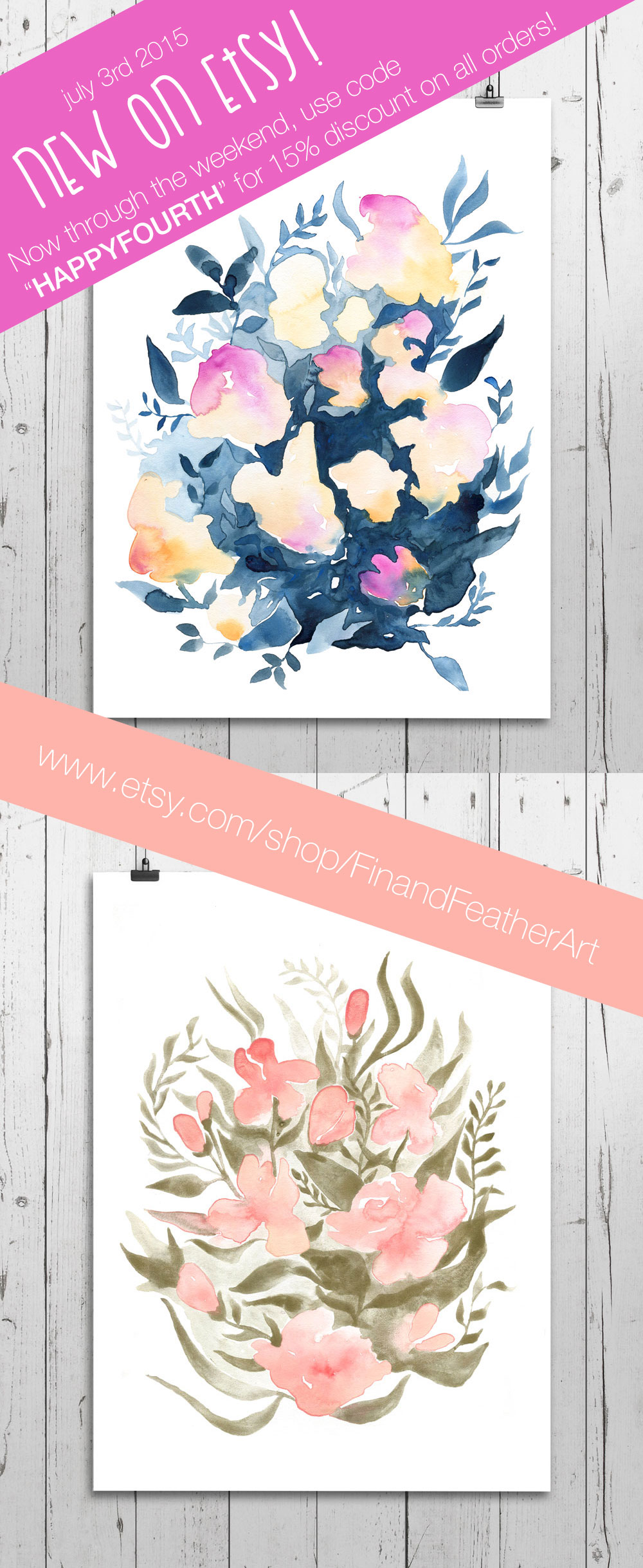 Fin and Feather Etsy Watercolor Shop